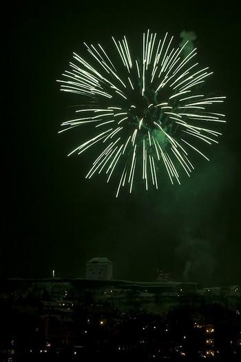 Fireworks over Kristiansten Festning, New Year 2010