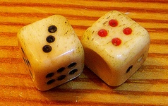 A pair of old six-sided dice