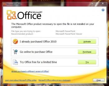 """MS Office """"Buy Me"""" screen"""